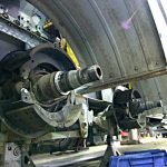 Heavy Truck Brakes Being Repaired In Shop